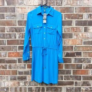 NWT Lauren by Ralph Lauren 2p blue shirt dress